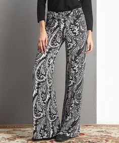 Loving this Black & White Paisley High-Waist Palazzo Pants on #zulily! #zulilyfinds