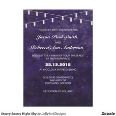 Starry Snowy Night Sky Save The Date Paper Invitation Card design with theme Save The Date Invitations, Elegant Wedding Invitations, Wedding Invitation Templates, Invitation Paper, Abstract Watercolor, Night Skies, Getting Married, Sky, Design
