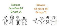 Los niños del grupo Ay los niños del grupo Btienen las mismas edades y, sin embargo, sus dibujos son bien distintos. Para los expertos en psicología y neurociencia la capacidad para dibujar refleja las habilidades intelectuales del niño. Los dibujos bien organizados, proporcionados y con detalles