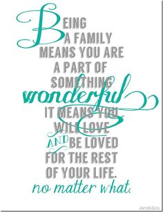 """Being a Family means you are a part of something WONDERFUL It means you will LOVE and BE LOVED for the rest of your Life."""