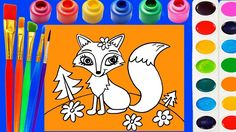 Little Kinder Club - Fox Coloring Page for Kids to Learn to Color and Paint