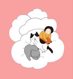「とろける時間」 最高に居心地のいい雲のようなソファーの上で 最高にしあわせそうに毛づくろいをする君たち。 そんな時、時間はとろけて無くなって ぼくと君たちの時間が知らない間にひとつになるよ。