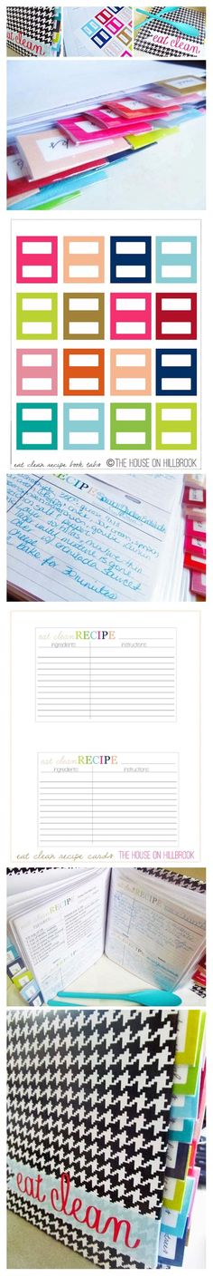 Free printable tabs and recipe cards. Click for more free organizing printables: http://www.pinterest.com/hre/free-printables-for-organizing/