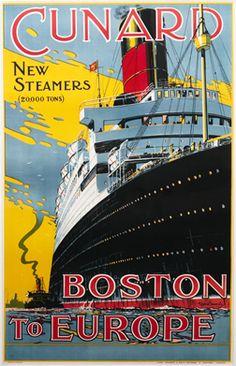 Thomas, Walter poster: Cunard Boston to Europe
