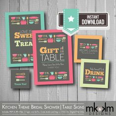 Stock The Kitchen Bridal Shower : Table Signs- Love Is Sweet Sign-Thank You Tags- Gift Sign- Recipe Card Sign- Bride To Be- INSTANT DOWNLOAD on Etsy, $7.50