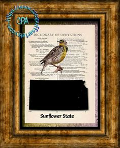 KANSAS State Black Silhouette with State Bird, Sunflower State Art - Vintage Dictionary Page Art Print Upcycled Page Print by CocoPuffsArt on Etsy