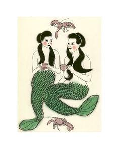 Nursery art. Mermaid art - Crustacean cafe -  5.8 X 8.3 print. $12.00, via Etsy.
