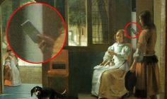 """Proof of Time Travel? - The painting is named """"Man Handing Letter to a Woman in the Entrance Hall of a House"""" by Pieter de Hooch in 1670. Some people are supposing that the """"letter"""" is possibly an IPhone. Are you KIDDING ME? This doesn't even deserve an hour's worth of investigation."""