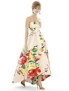 DescriptionAlfred Sung Style D699-Floral PrintFull length bridesmaid dressSweetheart necklineMatching belt at natural waistHi-low hemlinePleated Aline skirtPocketsSateen Twill