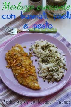 Filetti di merluzzo croccanti con riso basmati, piselli e pesto - #ricetta #pasqua