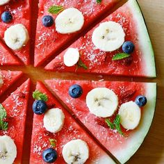 Don't know how good it would taste, but it looks cool! Easy raw vegan sweet pizza, anyone? Watermelon + Bananas + Blueberries + Goji Berries + Shredded Coconut + Fresh Mint! #Yum
