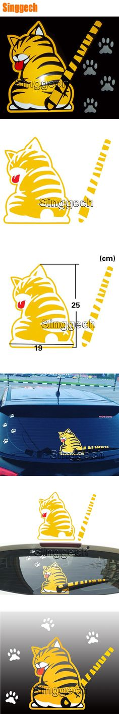 Car Rear Window Wiper Decals Cartoon Cat Sticker For Volkswagen Polo VW GOLF 4 5 6 7 Touran Tiguan Skoda Rapid Fabia Accessories