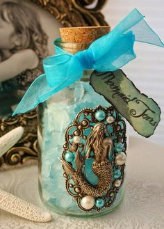 Items similar to Mermaid Tears Hand Crafted Mermaid Collectible Altered Art Bottle Decor Photo Prop on Etsy Bottles And Jars, Glass Jars, Mason Jars, Mermaid Bathroom, Mermaid Room, Mermaid Tears, Ariel Mermaid, Real Mermaids, Arts And Crafts