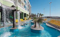 Wyndham Vacation Resorts Towers on the Grove at North Myrtle Beach Outdoor Lazy River  I  Book your vacation rental in Myrtle Beach, South Carolina with TRIPBOUND.com for up to 50% off published rates!