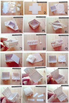 DIY lace and fabric covered tiny box photo tutorial. SO cuuuute