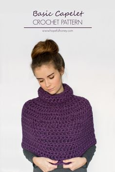 Hopeful Honey: Basic Capelet - Free Crochet Pattern (ladies small) by Olivia Kent. Super chunky yarn, 12mm hook. Half double crochet (UK htr.)