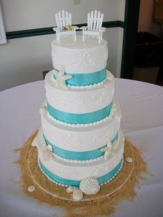 the top of your beach themed wedding. the cake. via:weddingomania                                    walkingonsunshine:)