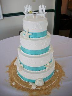 the top of your beach themed wedding. the cake. via:weddingomania                                    walkingonsunshine:)