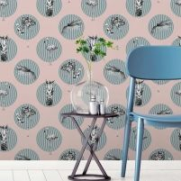 Escape to the poolside with this fresh and fun flamingo wallpaper, featuring funky circles and pineapple illustrations. Flamingo Wallpaper, Tropical Wallpaper, Spring Wallpaper, Kids Wallpaper, Palm Springs, Pale Pink, Pink Blue, Pineapple Illustration, Flamboyant