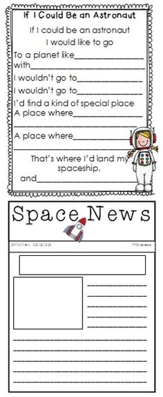 This worksheet could be used as an introduction to the student's creative stories about going to space. EN