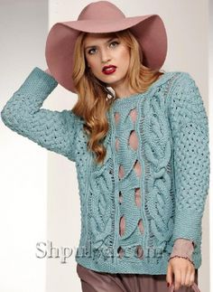 Вязаный пуловер с косами и сквозным узором, вязание спицами, женский пуловер спицами описание и схема, пуловер 2015, женский пуловер с косами спицами ,вязание пуловера с дырками спицами, пуловер с отверстиями, пуловер из Verena, /5557795_1245_1 (511x700, 240Kb)