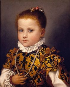 "Portrait of a Little Girl on the Redetti Family, c1570, oil on canvas.  From ""Bellini, Titian, and Lotto"" at the Metropolitan Museum of Art 