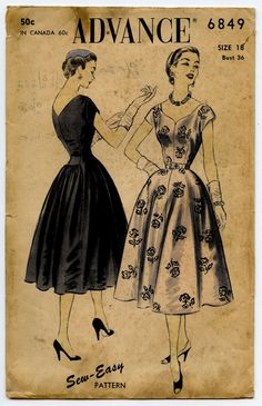 1950s Advance 6849 Vintage Sewing Pattern Lovely by GreyDogVintage, $36.00