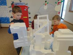 Styrofoam icebergs for block building play.  Add play animals for dramatic play fun.