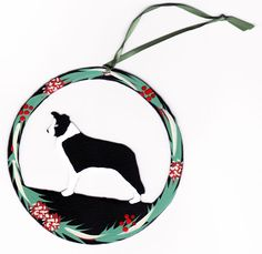 Hand Painted Dog Christmas Ornament - Border Collie