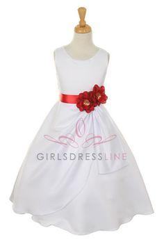 White/Red Bridal Dull Satin Flower Girl Dress B1165-WR B1165-WR $48.95 on www.GirlsDressLine.Com