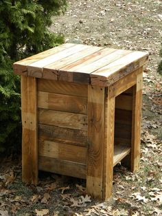 repurposed wood pallets | pallet night stand | Reclaimed Pallet Wood, End Table, Sofa Table ...