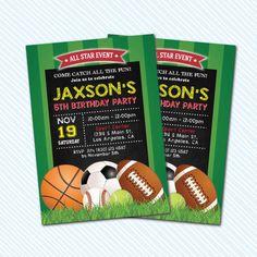 Digital Printable Sport Ball Birthday Invitation. by kodomoartshop