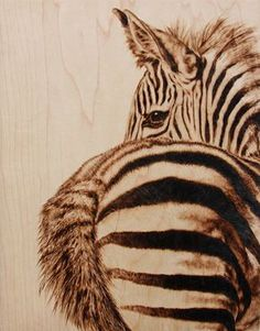 wood burned wildlife portrait, by Julie Bender love the zebra. not sure if I like the butt. Wood Burning Crafts, Wood Burning Patterns, Wood Burning Art, Wood Crafts, Pyrography Patterns, Pyrography Ideas, Gourd Art, Equine Art, Wildlife Art