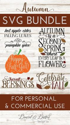 Celebrate Fall with this awesome SVG File bundle for Autumn: Hot Apple Cider, Falling Leaves, and Pumpkin Spice; and Autumn is a Second Spring SVG files. Save over when you bundle! My SVGs Silhouette School Blog, Silhouette Cameo Projects, Silhouette Curio, Silhouette Machine, Vinyl Crafts, Vinyl Projects, Hot Apple Cider, Cricut Vinyl, Cricut Fonts