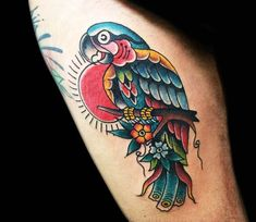 3 colors traditional old school tattoo style of Parrot motive done by artist Lollo Tattoo Traditional Tattoo Drawings, Traditional Tattoo Design, Traditional Tattoos, Dragon Tattoo Back, Back Tattoo, Cool Tattoos For Guys, Arm Tattoos For Women, Simple Tattoo Fonts, Rose And Butterfly Tattoo
