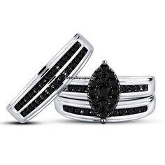 His & Her's 14K White Gold AAA Diamond Ring Trio Bridal Wedding Engagement Set #br925silverczjewelry #SolitaireAccents #EngagementWeddingAnniversaryPartyDailyWear