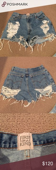 "LF shorts Furst of a kind vintage denim ripped shorts. Bought from LF.  Since they are vintage it's ""one size fits all"". LF Shorts Jean Shorts"