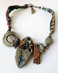 Ancient Zen Necklace by Staci Louise Smith / Staci Louise Originals polymer clay, ceramic, gemstones