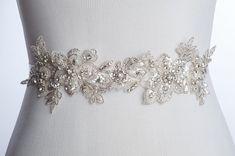 Kara beaded lace bridal sash  lace wedding belt  by BridesBoutik, $124.90