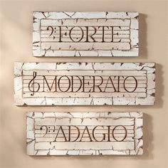 Italian Music Terms Plaques, Set of 3 at The Music Stand