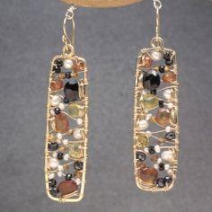 Hammered drop earrings black spinel, mandarin garnet lemon quartz, ivory pearls, citrine Bohemian 135
