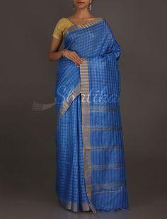 Pihu Inked In Blue Self-Checks Wonder #MatkaSilkSaree