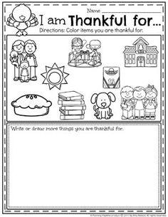 I am Thankful for Worksheet for Preschool and other fun Thanksgiving worksheets.