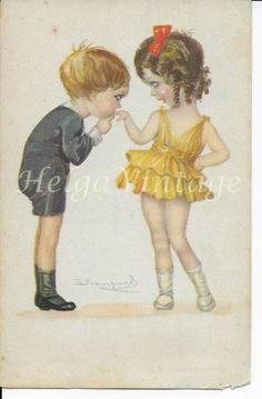 Italian Art Deco art postcard with kids, hand-kissing 1923 Italian Painters, Italian Artist, Photo Postcards, Vintage Postcards, Romantic Couples, Accent Colors, Hand Coloring, Kissing, Vintage Cars