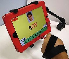 iPad/Tablet HandPointer ($29.00) Stylus emerges between 1st & 2nd knuckles  	  image of handpointer w/open hand'  Same stylus position but showing open hand and secure strapping  	  image of ipad handpointer through 2nd knuckle  Here the plastic cylinder has been rotated a bit so that the stylus emerges from 2nd knuckle.