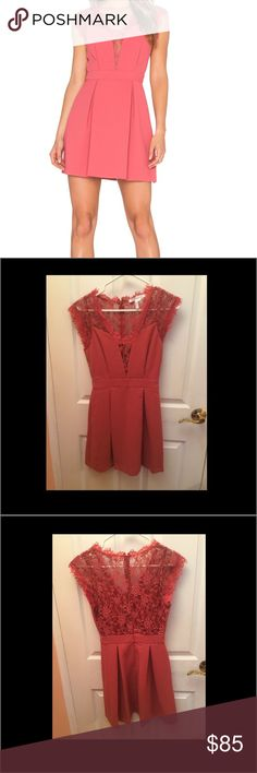 BCBG mini cocktail dress with lace insert Gorgeous pink cocktail dress, with lace back. Worn once for 3 hours. Great condition. BCBG Dresses Mini