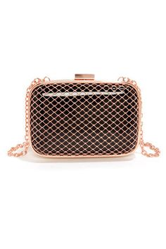 78c67ca8225c Fishnet for Compliments Rose Gold and Black Clutch at LuLus.com!  lulus