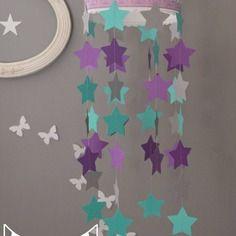 Mobile enfant nurserie bébé étoiles turquoise gris et violet - nursery baby mobile stars purple aqua and grey
