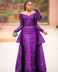 Aso ebi lace gown styles beautiful Aso ebi Long gown Lace for wedding Aso Ebi Lace Styles, Lace Gown Styles, African Lace Styles, African Lace Dresses, Kente Styles, African Dresses For Women, African Attire, African Wear, African Fashion Dresses