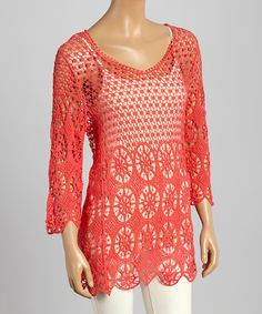 Look at this Coral Crochet Three-Quarter Sleeve Tunic on #zulily today!